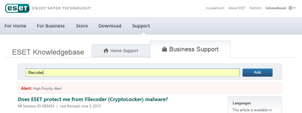 Does ESET protect me from Filecoder (CryptoLocker) malware?